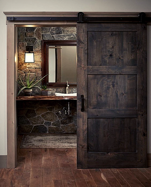 stained 3 panel wood shaker custom sliding bathroom barn door.