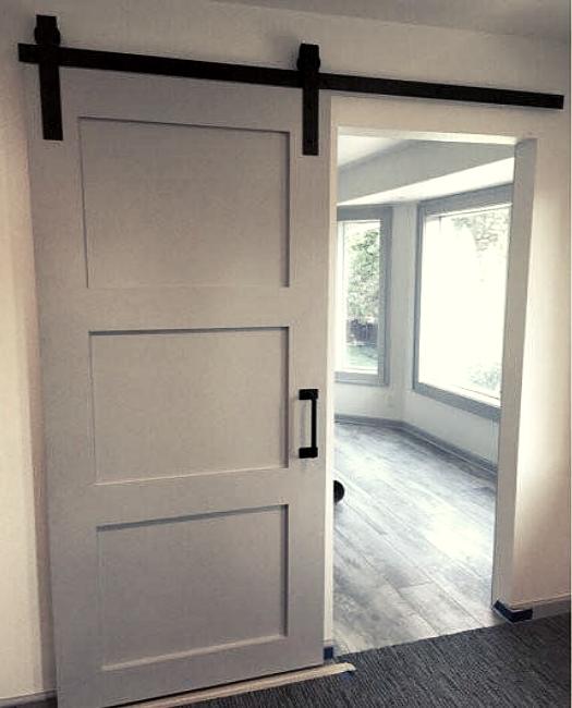 grey 3 panel wood shaker custom sliding bedroom barn door.