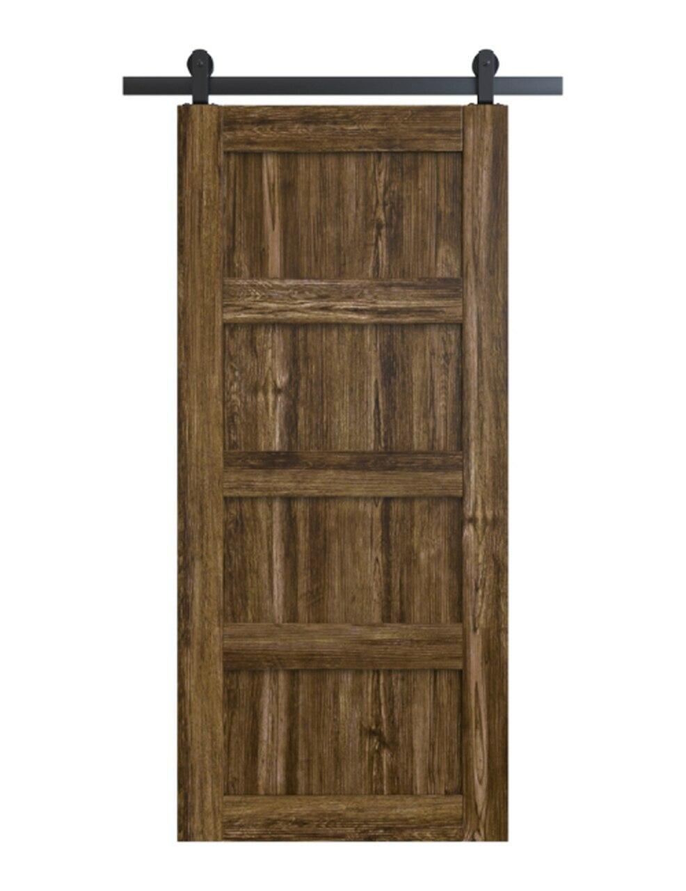 wood stained 4 panel shaker barn door