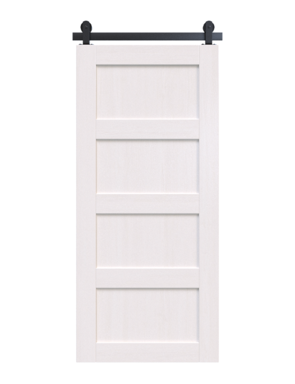 wood white painted 4 panel barn door (Sherwin Williams Extra White)