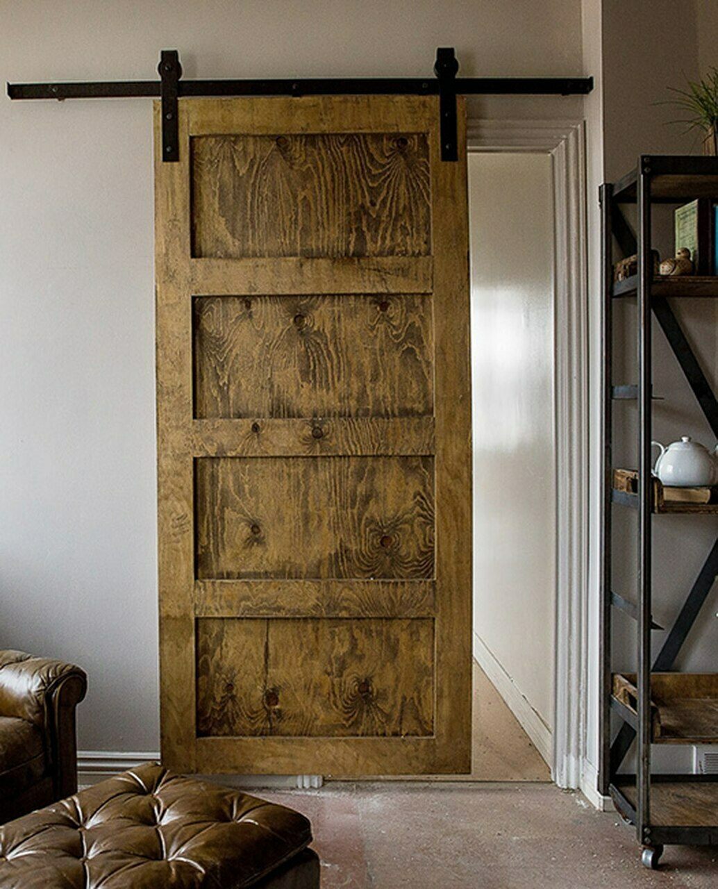 wood stained 4 panel barn door