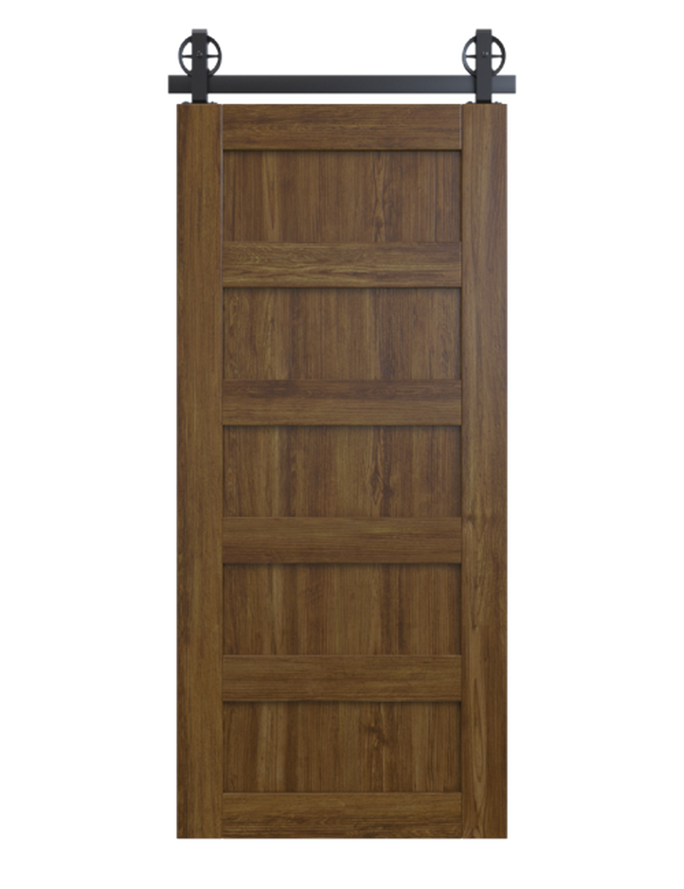 stained wood 5 panel barn door