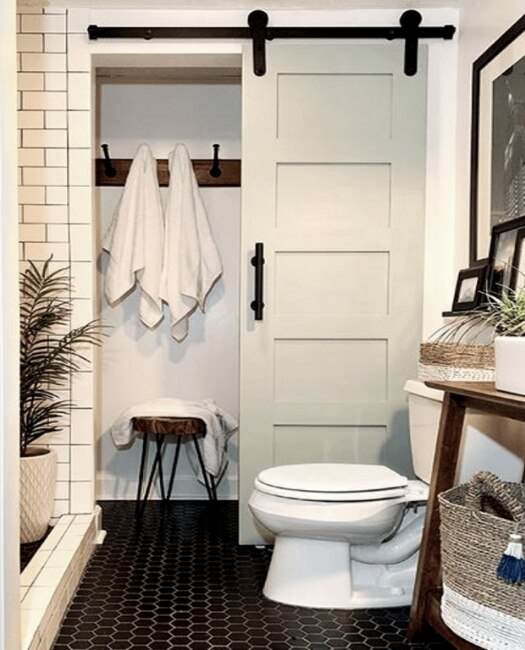 bathroom linen closet painted 5 panel shaker sliding wooden sliding barn door