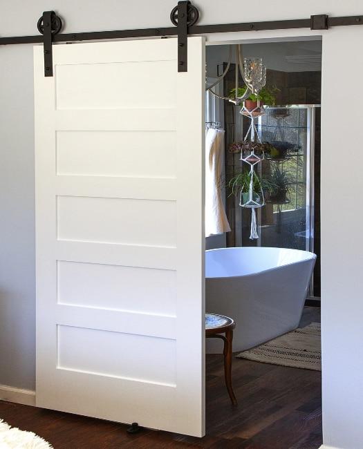 bathroom entry painted wooden 5 panel shaker sliding barn door