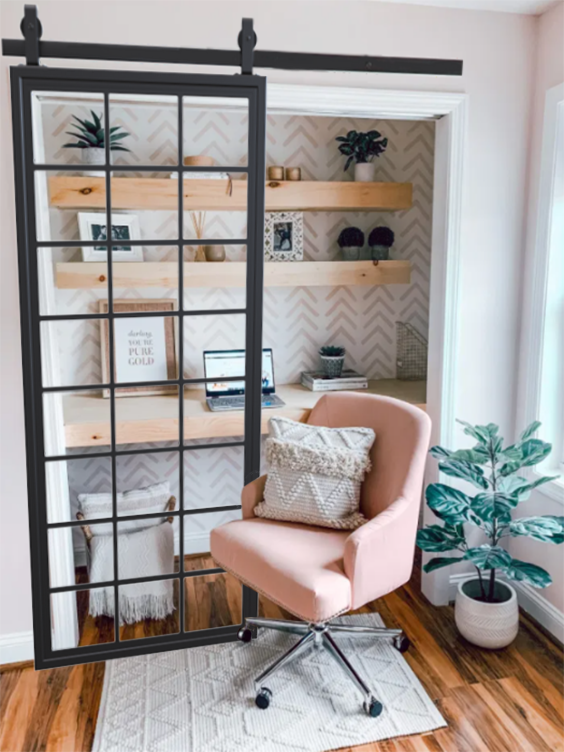 Square Pane French Sliding Barn Door lifestyle to closet office, perfect for working from home.