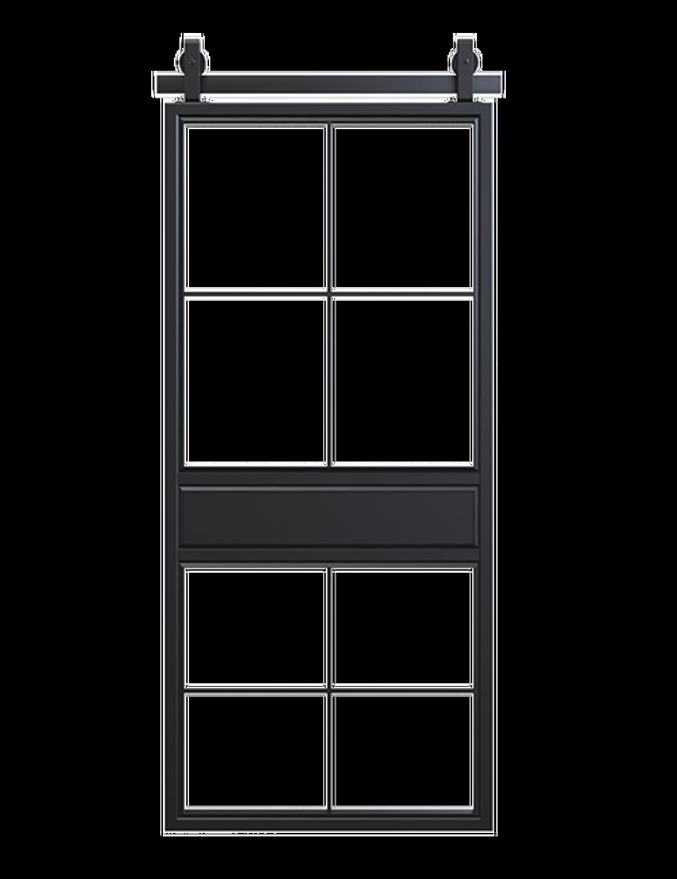 metal two panel square pane glass double barn door