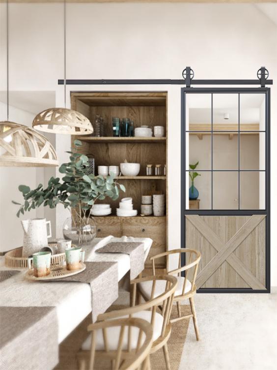 metal half square pane glass half x panel wood barn door lifestyle in kicthen in modern minimalist style