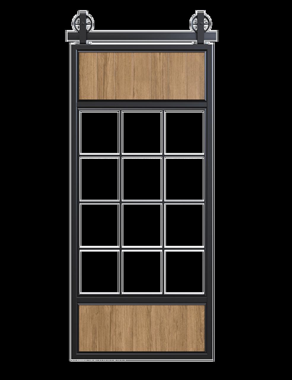 metal wood and glass window panels barn door