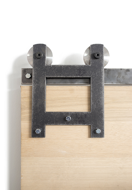 aged steel h style front strap barn door hardware