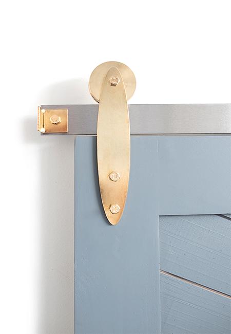 gold plated strap barn door hardware