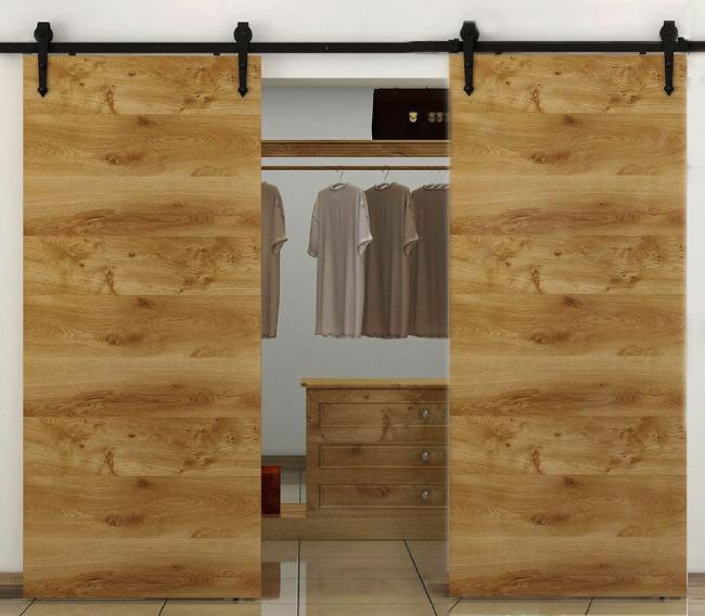 simple black barn door hardware with double doors