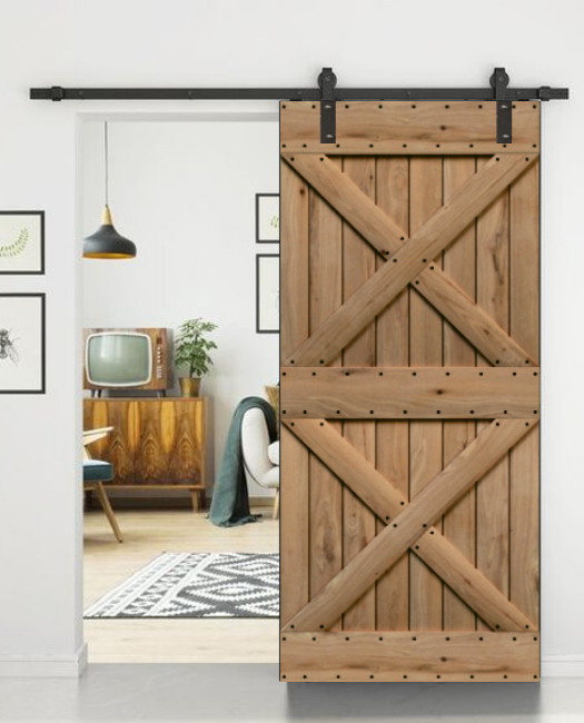 wood double x pattern custom living room sliding barn door, called the newport