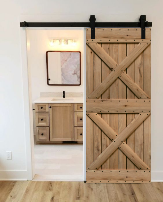 wood double x pattern custom bathroom sliding barn door, called the newport