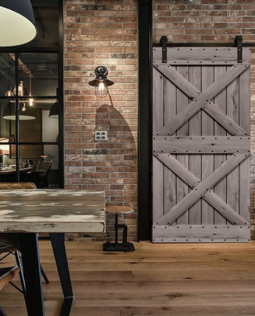 urban industrial style newport custom wood sliding barn door with two x pattern