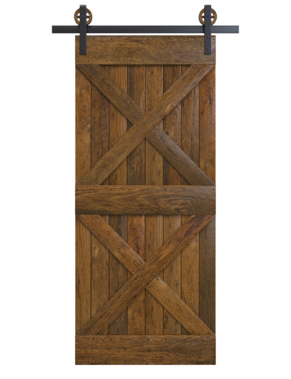 newport stained wood barn door with double x board and batten design