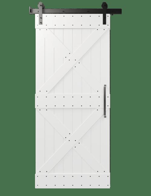 newport white painted barn door with double x board and batten design