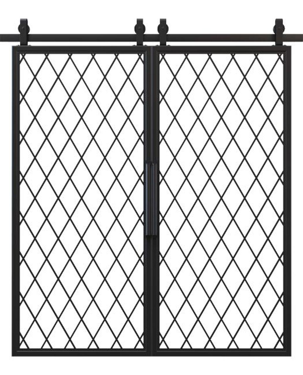 metal diamond pane french double barn door
