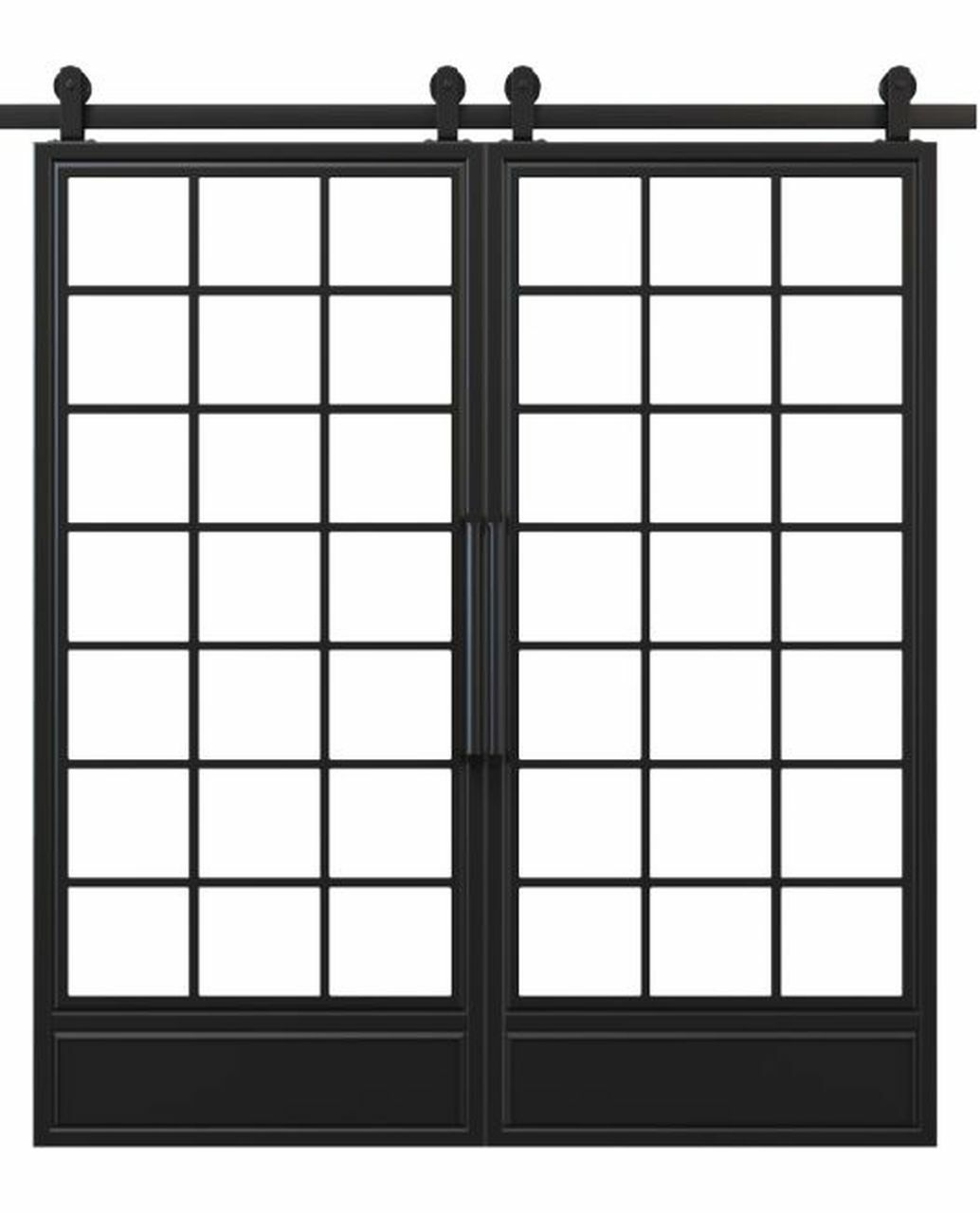 metal bottom panel square pane glass french double barn door