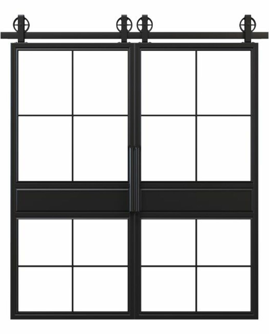 metal two panel square pane glass double barn door