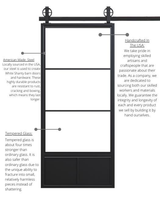 Three panel french sliding barn door material breakdown