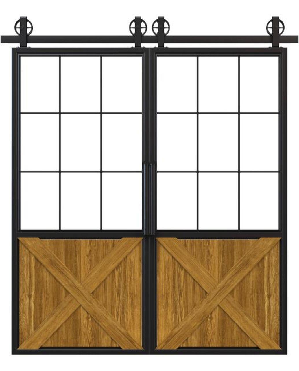 metal half square pane glass half x panel wood double barn door