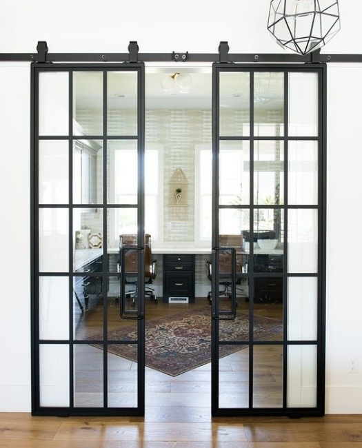 Window Pane French Double Sliding Barn Door Built With American Steel
