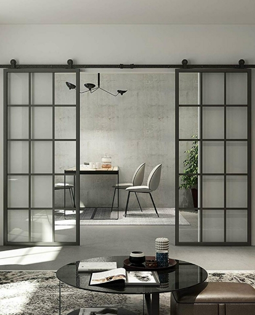 Double Window Pane French Metal Frame Glass  To Family Room To Dining Room