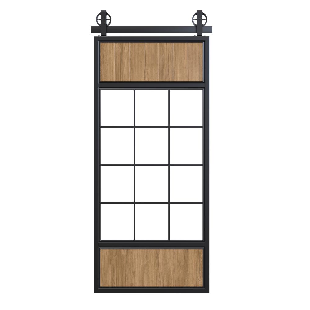 Two Wood Panel French Double Barn Door