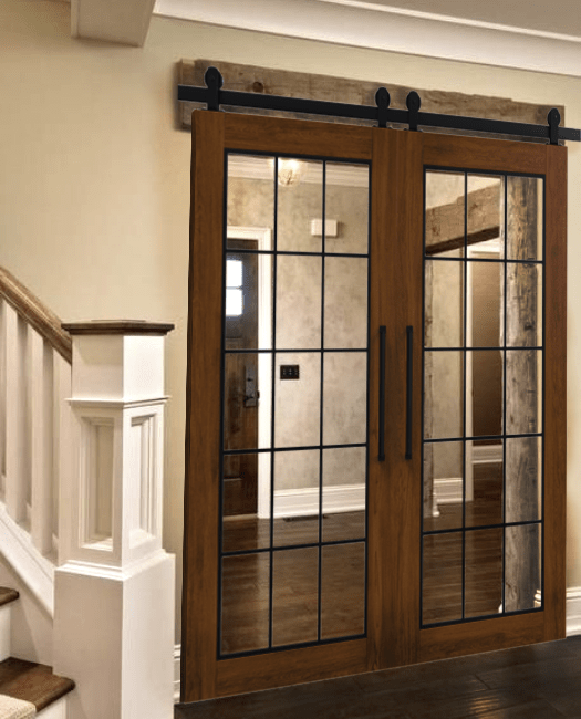 Rustic Wooden Frame French Double Barn Door - Lifestyle Entry