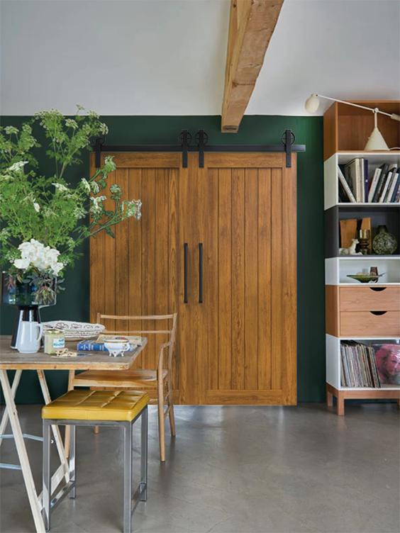 Hudson Double barn door in living room lifestyle