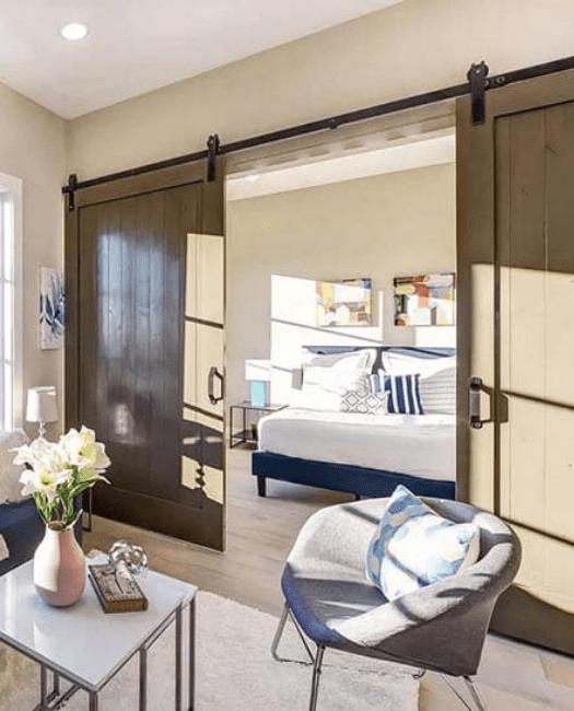 Hudson Double barn door bedroom lifestyle