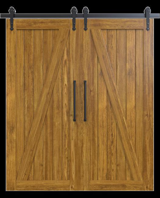 juneau wood medium stain classic z double barn door