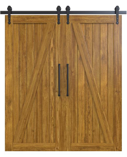 juneau wood medium stain classic double barn door