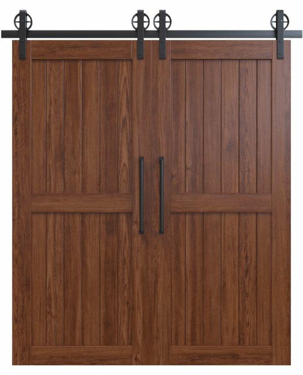 naples dark stained wood 2 panel double barn door