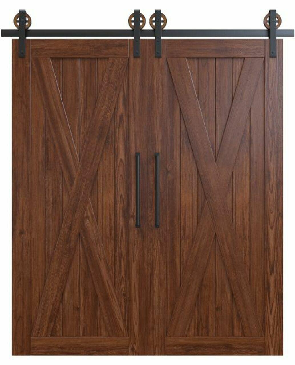 savannah savannah dark stained wood double barn door with classic full x panel