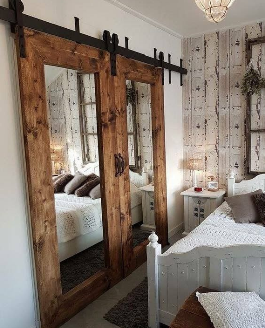 custom extra large frame stained rustic wood framed double mirror sliding barn door mirror