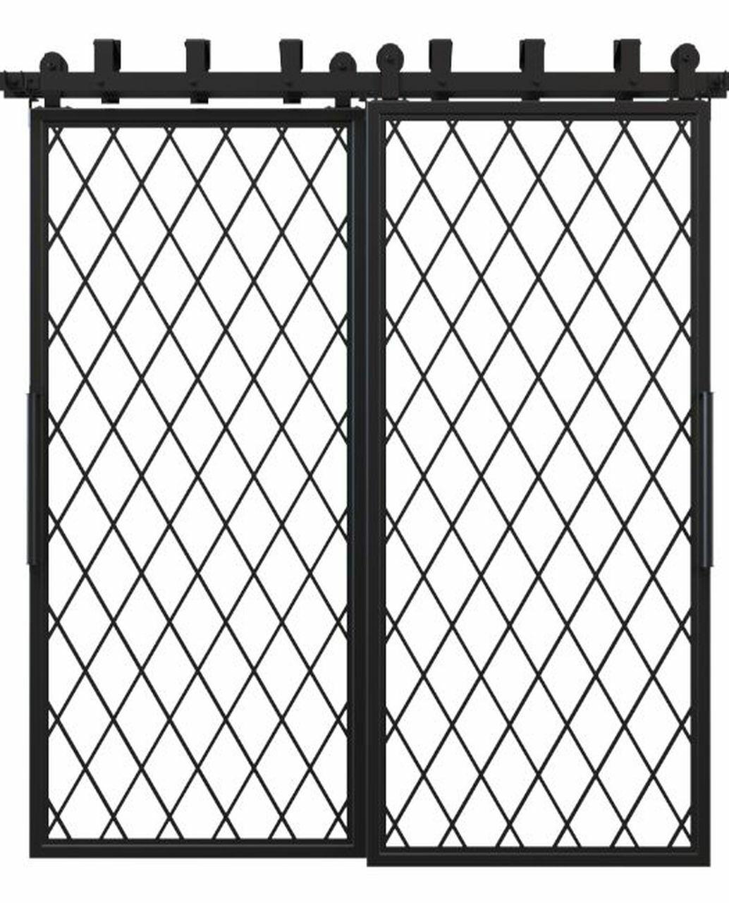 metal diamond pane french bypass barn door