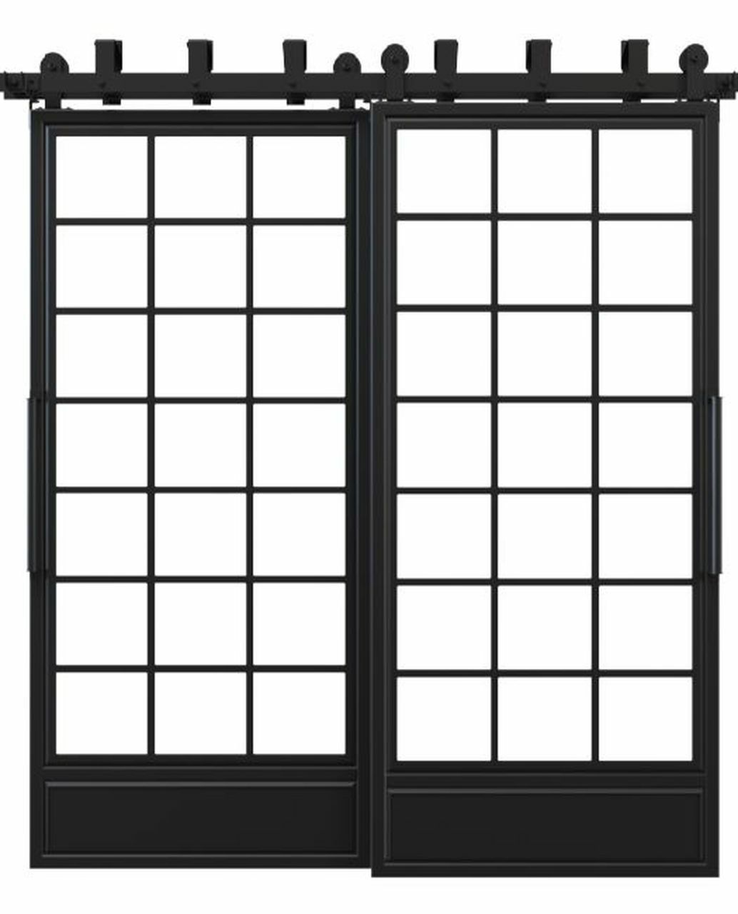 metal bottom panel square pane glass french bypass barn door