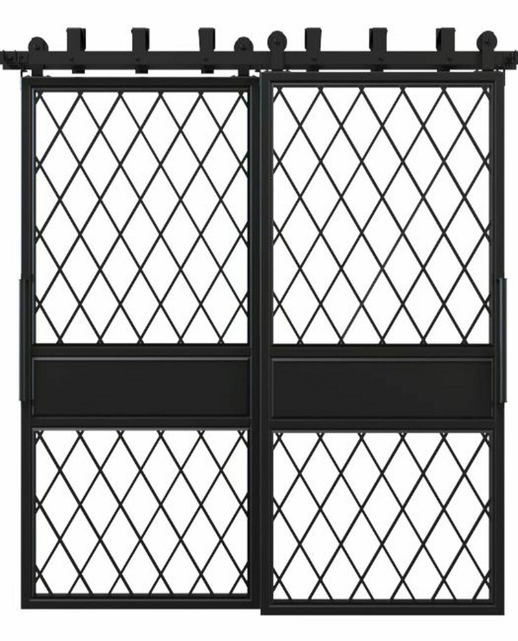 metal two panel glass bypass barn door with diamond pane window