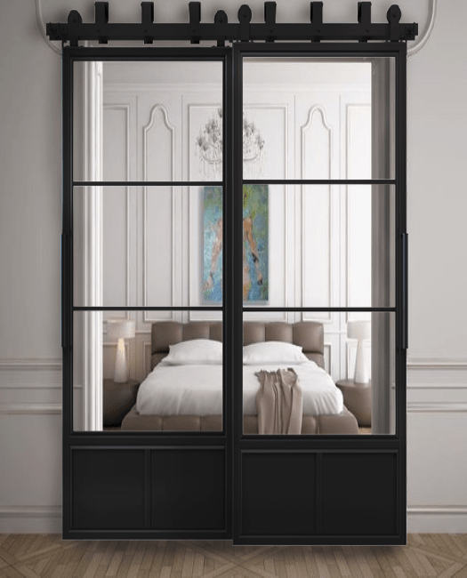 Three Panel French Bypass Sliding Barn Door Lifestyle Bedroom