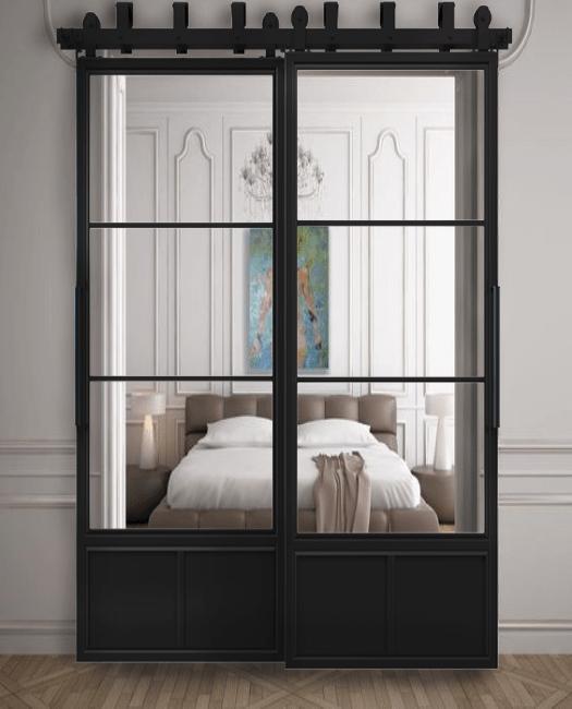 Three Panel French Bypass Sliding Barn Door Lifestyle Bedroom