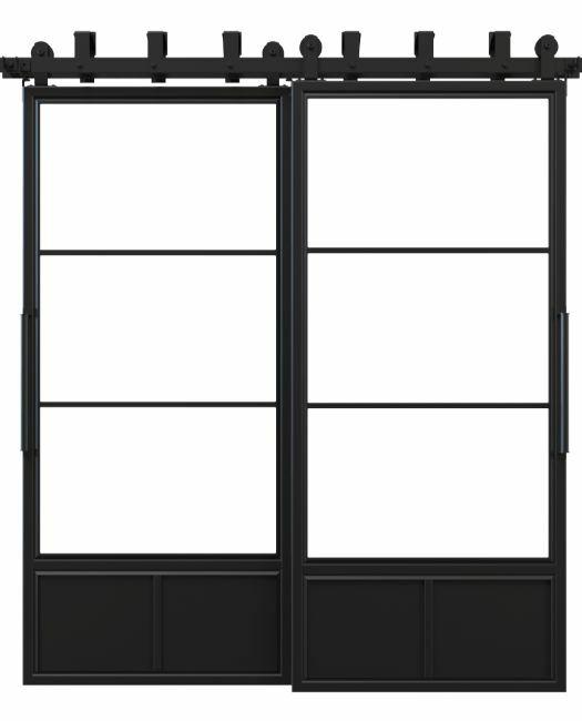 three panel metal bypass barn door
