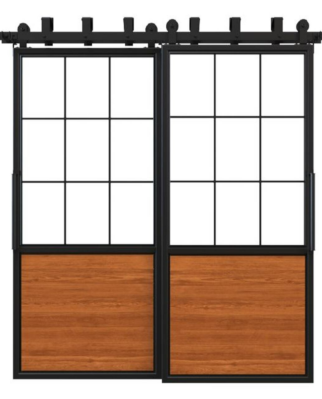 stained wood double barn door with square pane glass