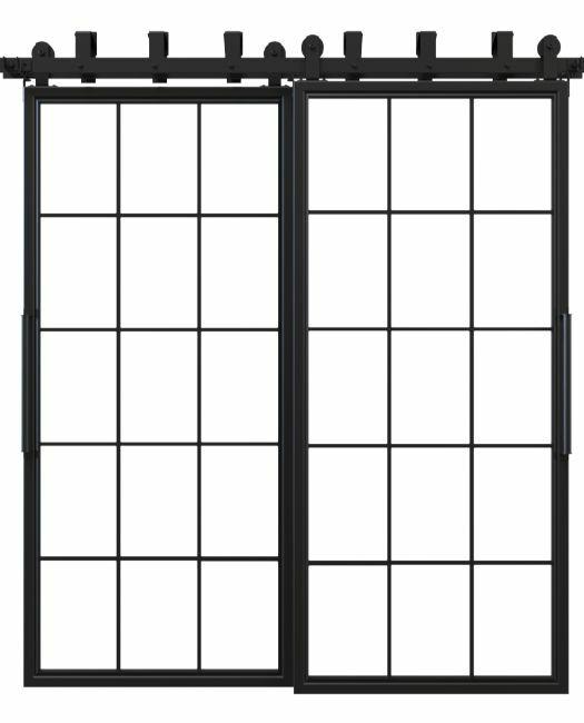window pane french bypass barn door black