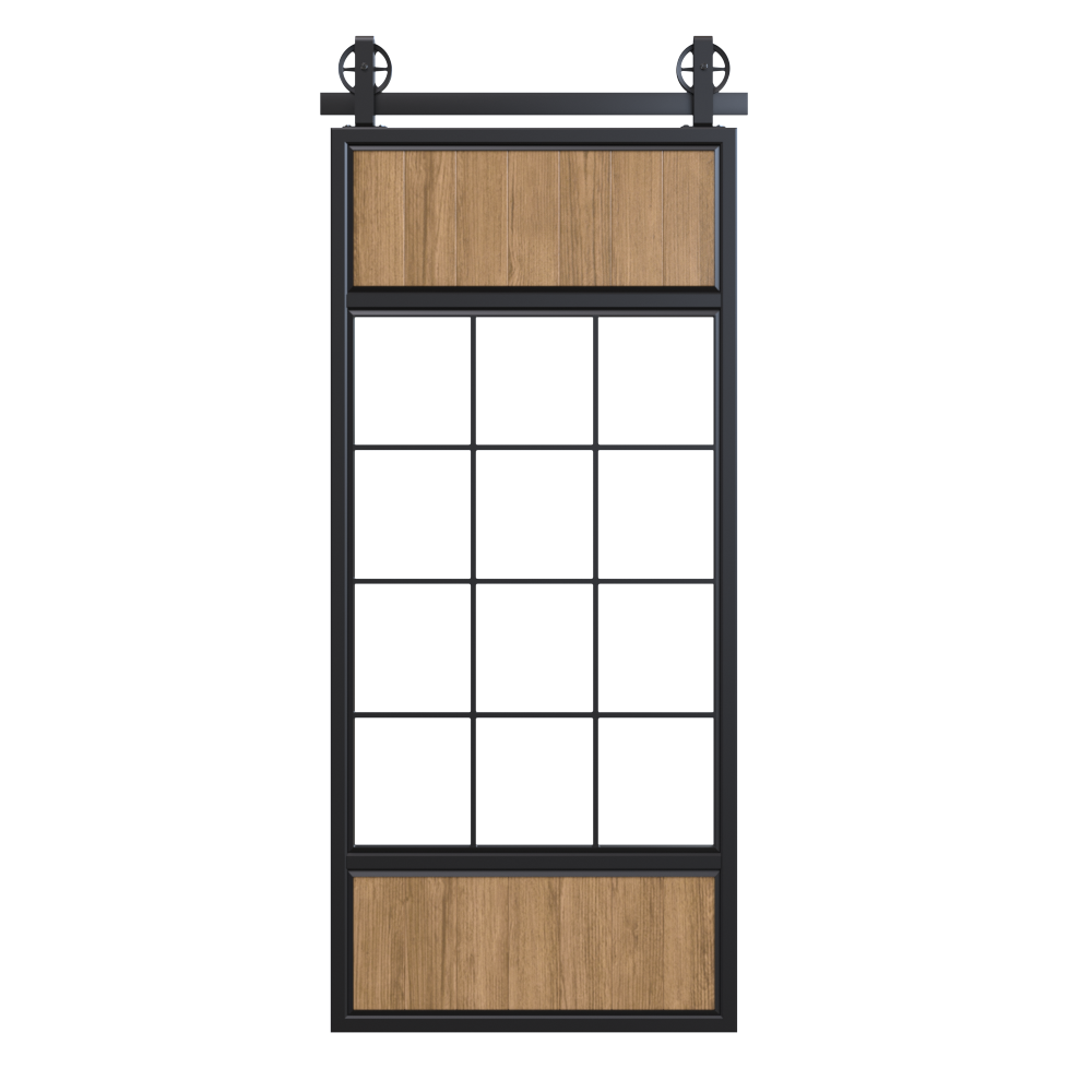 Two Wood Panel French Bypass Barn Door