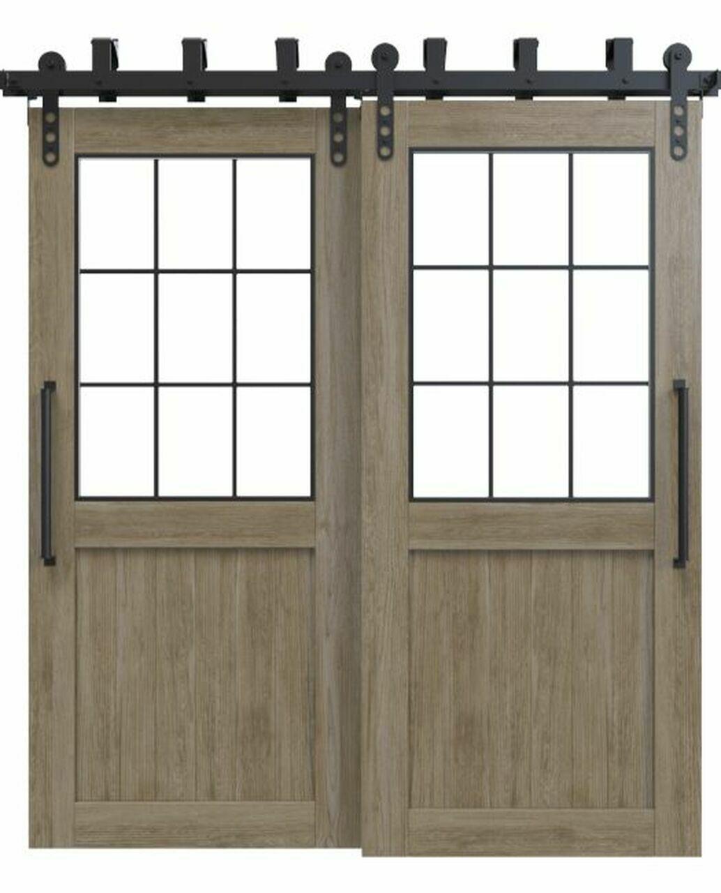 wood bypass barn door with glass window
