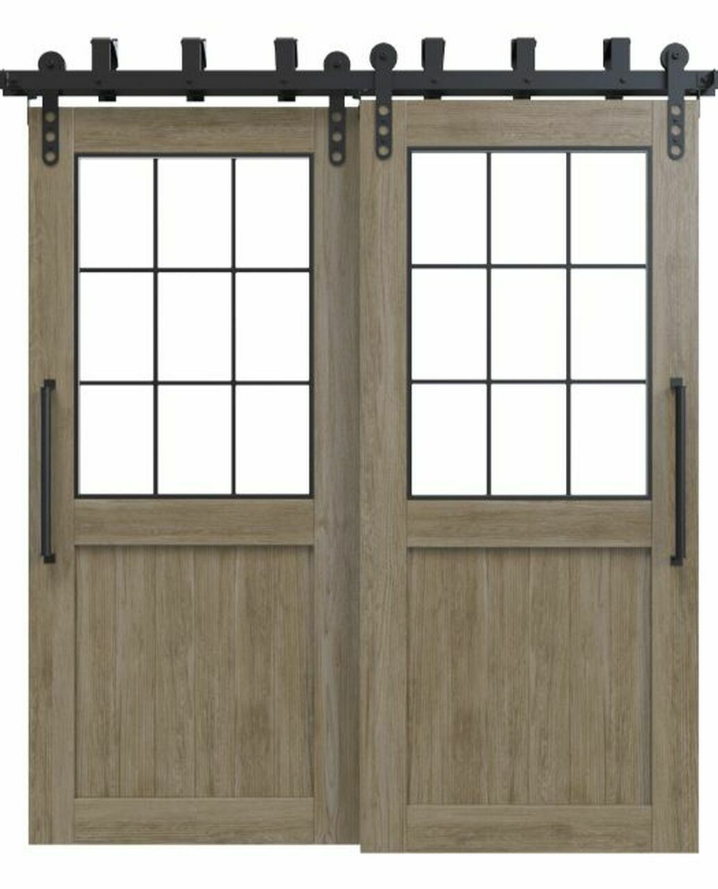 wood bypass barn door with glass window