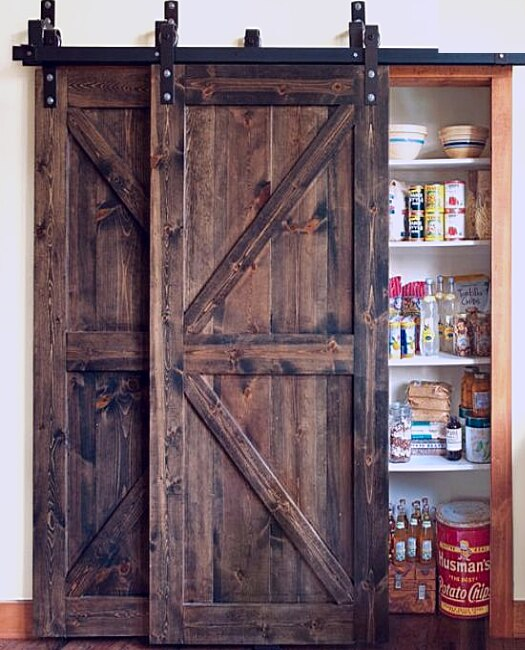 Dark stained pantry bypass Sonoma Barn Door