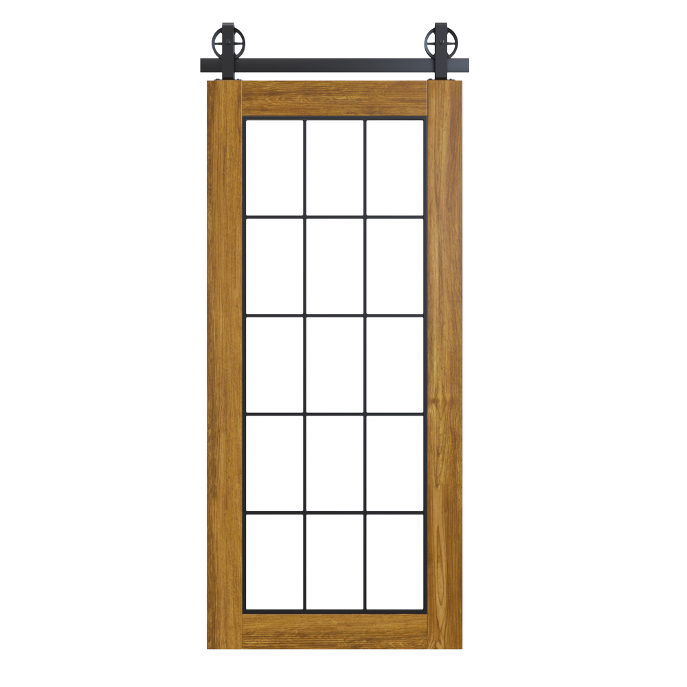Rustic Wood Frame Bypass French Barn Door