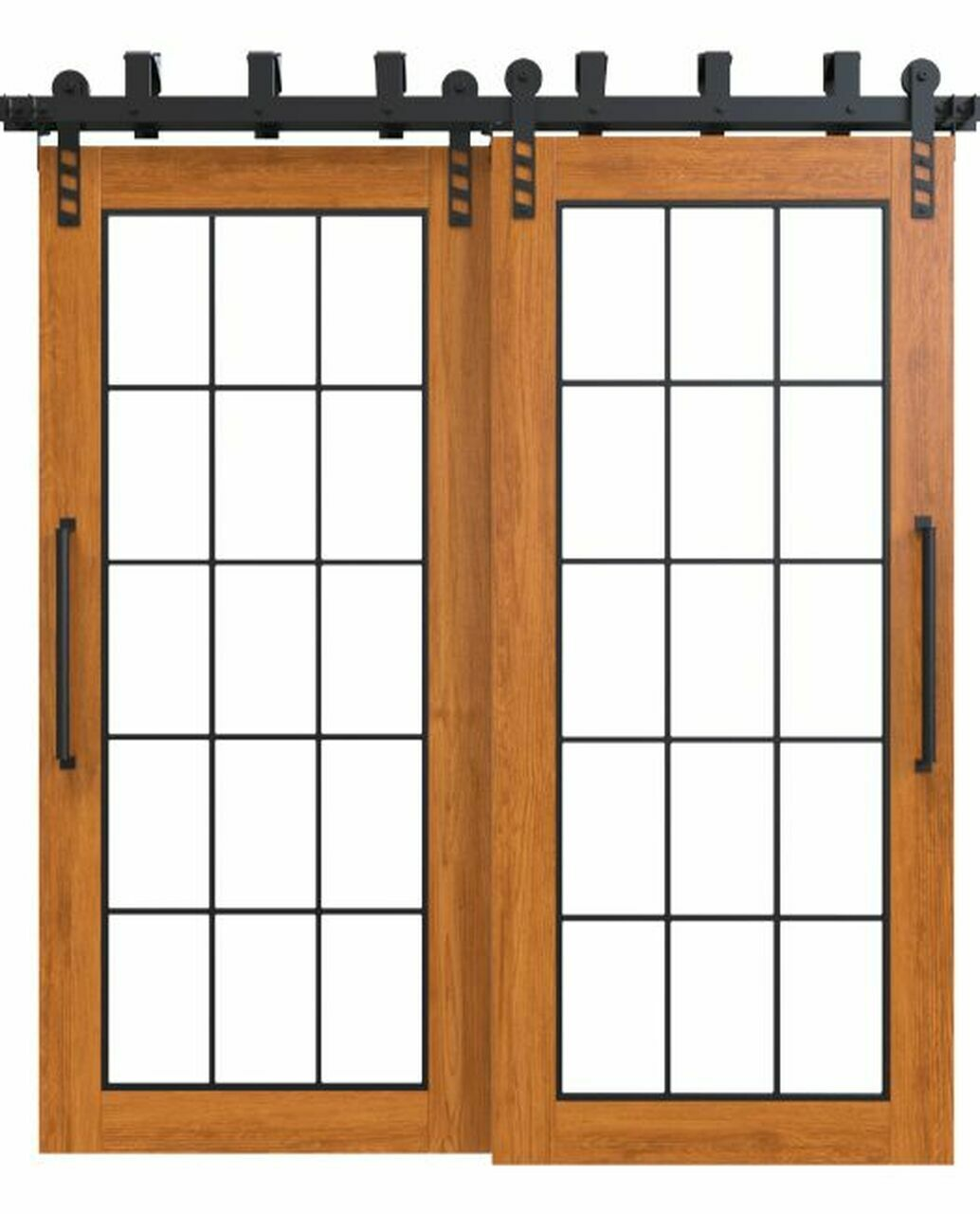 stained wood bypass barn door with full glass window pane